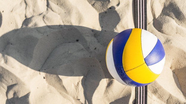 flat lay volleyball beach sand 23 2148662653