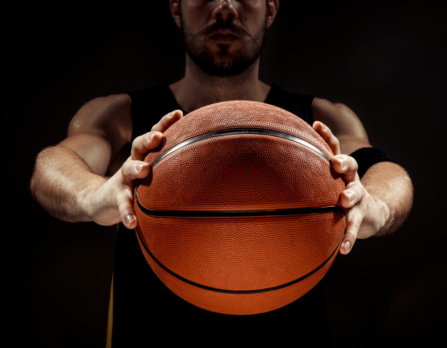 silhouette view basketball player holding basket ball black background 155003 11455