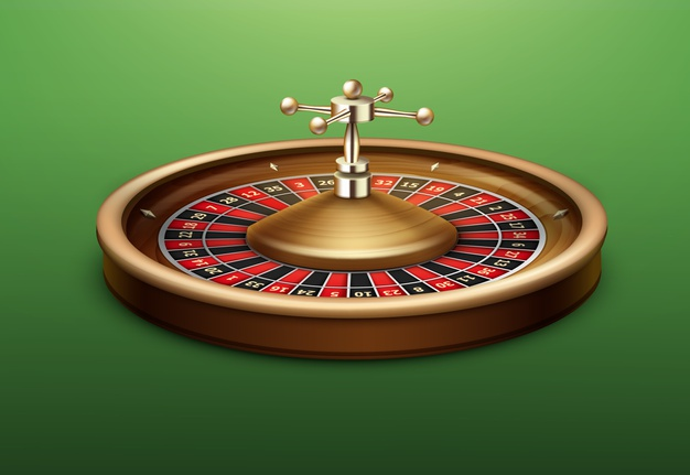 vector realistic casino roulette wheel side view isolated green poker table 1284 48499